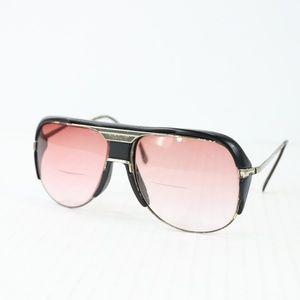 Vintage 80s Tura Metal Aviator Sunglasses Black